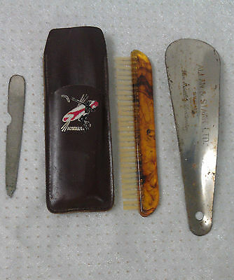 Vanity kit steer hide leather pouch aboriginal souvenir Chesterfield brush etc