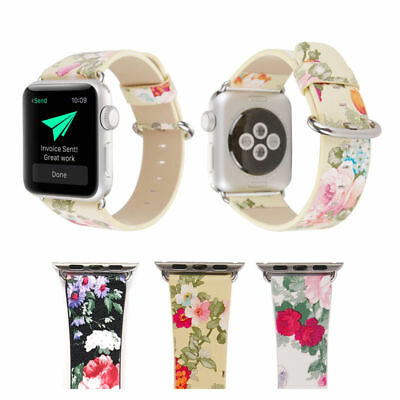 Colorful Flower Leather Bracelet Strap Watch Band for Apple Watch Series 4/3/2/1
