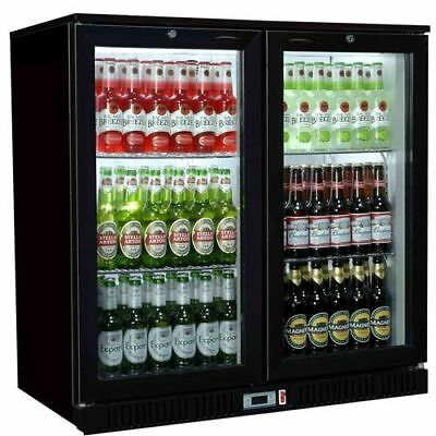 Hinged Double 2 Door Back Bar Bottle Cooler Fridge Ideal For Pubs / Restaurant