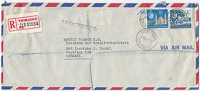U1023 Trinidad and Tobago reg commercial cover to Germany 1963. 55c rate.