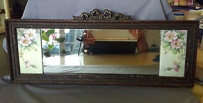 Gorgeous Antique French Gilded,gilt Mirror,carved Ribbon&pardee Tile Rose Signed