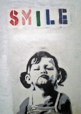 Banksy Smile Girl Canvas Picture Poster Print Wall Art Unframed #a22
