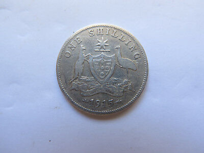 1915 AUSTRALIAN SILVER 1 SHILLING King George V NICE COLLECTABLE CONDITION