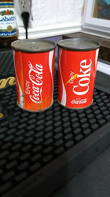 Vintage 70's Coca-Cola Salt and Pepper Shakers Tin Can Coke