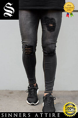 SINNERS Grey Ripped & Repaired Spray On Jeans - Sinners Attire Hera London