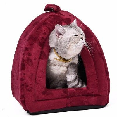 Enclosed Cat Bed Small Dog Cave Dome House Tent Soft Cushion Covered Foldable