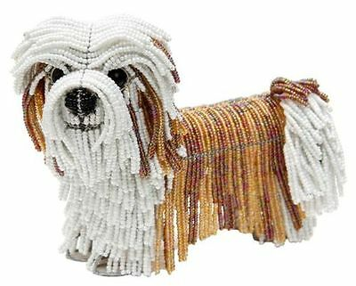 Beadworx Lhasa Apso Levi Brown White Dog Glass Beads Beaded Wire NWT NEW