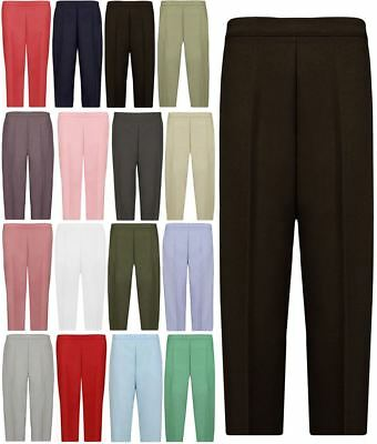Womens 3/4 Length Stretch Elasticated Waist Trousers Ladies Capri Cropped Pant