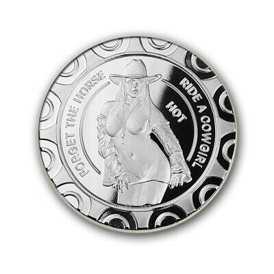 Sexy Striptease Hot Cowgirl / 1 oz .999 Fine Silver Round Bar Bullion Coin SB1L9