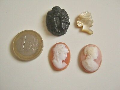 lot ancien camée à sertir coquillage jais nacre/lot antique cameo to crimp