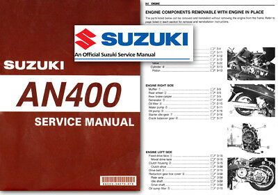 Suzuki AN400 Burgman Skywave Workshop Service Shop Repair Manual 400 1998 - 2002