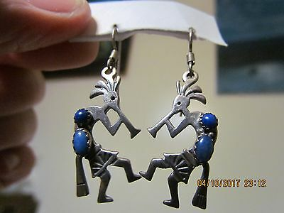 Vintage Sterling Silver Kokopelli Blue Lapis Lazuli Dangle Earrings