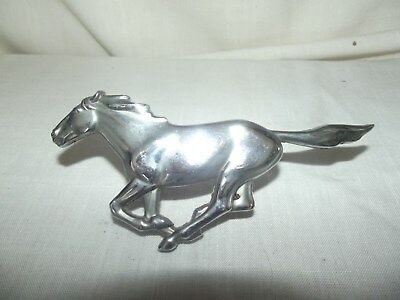 Vintage Original Ford Mustang Car Hood Ornament Grill Silver Metal Chrome