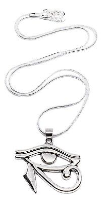 """Eye of Horus Pendant Quality Silver Snake 18"""" Chain Necklace Egyptian Protection"""