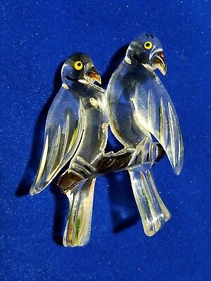 "1 BROOCH PIN/NOS-ANTIQUE-Vtg 3"" CARVED LUCITE-LOVE BIRDS Clear&Wood Look/Multi"