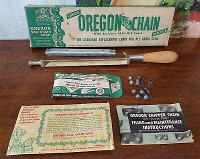 Vintage Oregon Chipper Chain Saw Sharpening File & Holder With Handle