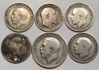 Great Britain 1874, 1902, 1912, 1912, 1914 Threepence & 1918 Sixpence 925 SILVER