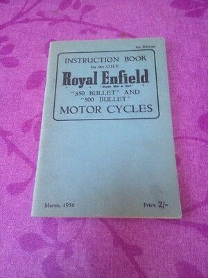 ROYAL ENFIELD 350 500 BULLET 1956 4th Edition INSTRUCTION BOOK MANUAL GENUINE