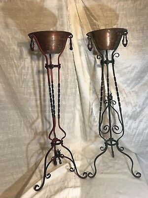 Funeral Wrought Iron Planters, antique wrought iron, copper pot, vintage funeral