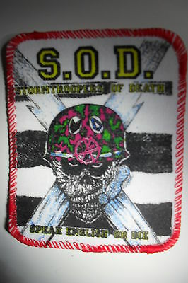 S.O.D. SOD Stormtroopers of Death speak English or die patch Sew On music