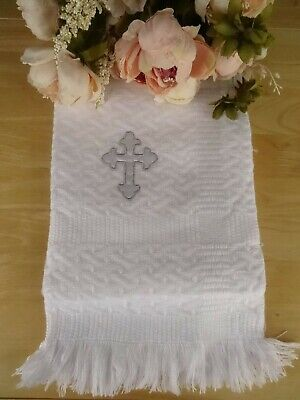 Baby Christening Knitted Embroidered Cross White Blanket Shawl Fringe 120x120cm