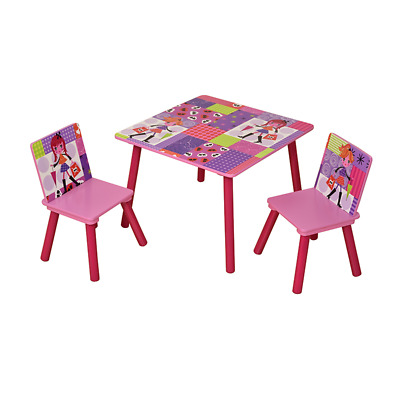"""Fashion Girl"" Square Table & 2 Chairs Set / Children's Bedroom Furniture"