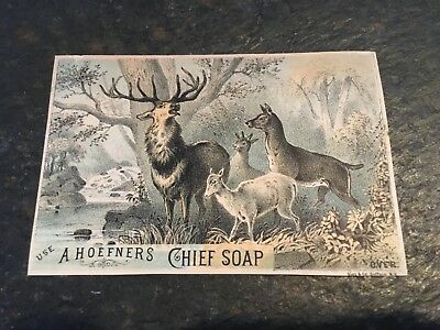 Antique Victorian Trade Card A. Hoefners Chief Soap Buck Deer Family