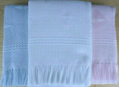 White Knitted Patterned Shawl Star Heart Fern Shell Fringe Christening 120x120cm