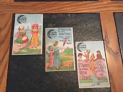 Antique Victorian Trade Cards Harters Iron Tonic set 3