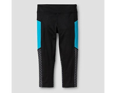 C9 Champion Girls' Performance Stretch Capri Leggings - Black & Teal- Pick Size