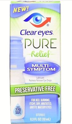 Clear Eyes Pure Relief Multi-Symptom .3oz Preservative Free EXP DATE 03/2018+