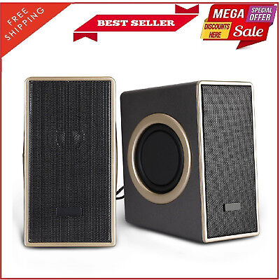 2 Pack USB Powered Computer Speakers 2.0 Multimedia PC Desktop System Subwoofer