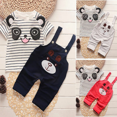 2PCS Newborn Baby Boys Girls Beer Outfits Clothes Tops+Bib Pants Overalls Set UK