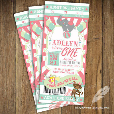 Pastel Circus Carnival Ticket Birthday Party Invitations Printed Set Of 10