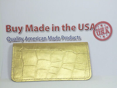 Bay State Exclusive Gold Gator Leather Checkbook Cover-New Design-Made In USA