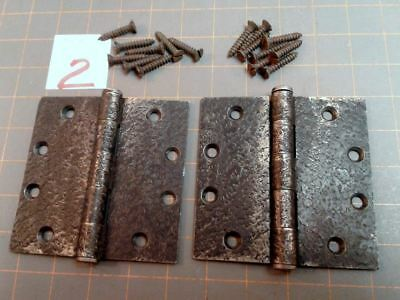Pair Butt Hinges Faux Hammered Iron Finish w Screws Acorn Warwick Style No 2 VTG