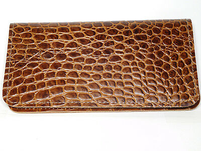Bay State Exclusive Light Brown Gator Leather Checkbook Cover-New Design-US Made