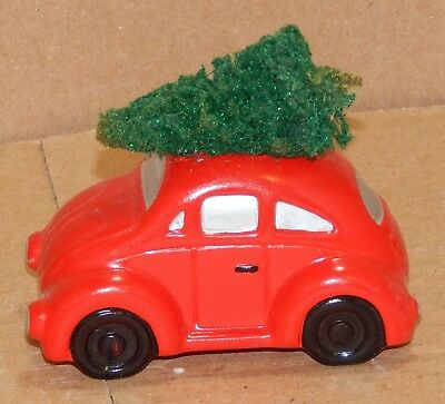 Dept. 56 Snow Village Red VW Bug Car with Tree On Top NO BOX