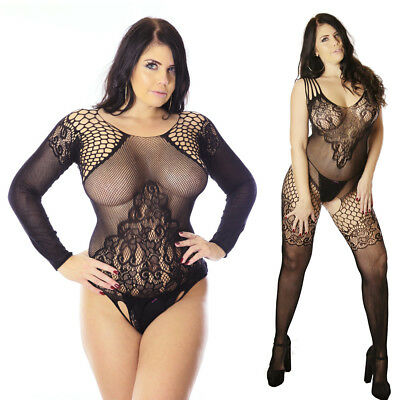 Plus+ Size 6-26 Body Stockings Boudoir Nighties Lingerie Fishnet Lot Bbodysuit