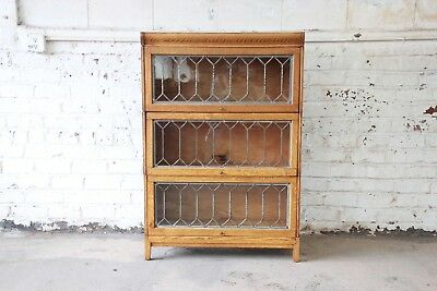 Antique Tiger Oak Three-Stack Barrister Bookcase with Leaded Glass Doors