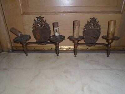 Pair Antique Sconce Wall Light Cast Metal Iron Vintage Art Deco  Two Arm
