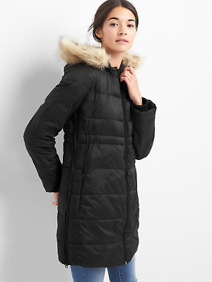 NWT GAP $199 Maternity True Black PrimaLoft Puffer Coat Jacket, sz M #708249