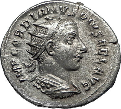 GORDIAN III 242AD Antioch Authentic Ancient Silver Roman Coin w FORTUNA i67161