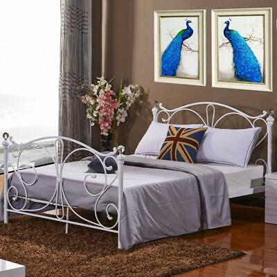 3FT, 4FT, 4FT6 Double or 5FT King Size Modern Metal Bed Frame With Sprung Base