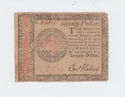 Continental Currency 1779 $70 Seventy Dollars Note *NO RESERVE!* / Philadelphia