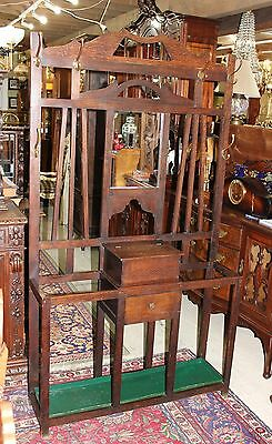 Beautiful English Antique Oak Art & Craft Hall Tree