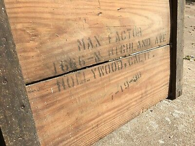 Max Factor Antique Wood Shipping Crate End 1938 Hollywood California