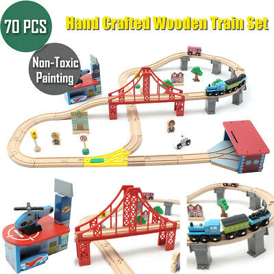 70pcs Kids Train Set Wooden Toys Play Hand Crafted Loop Track Railway Compatible