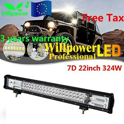 22inch TRI ROW 7D 324W LED Work Light Bar 4WD Car Truck SUV ATV Driving Lamp