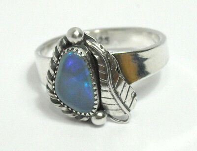 Handmade Natural Large Ethiopian Fire Opal 925 Solid Sterling Silver Ring Size 9